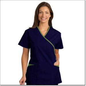 7027 Cobalt/Green Ladies' Cross-Over Tunic with Contrasting Trim – Fashion Poplin