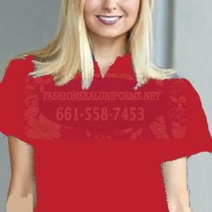 60225 True Red Women's Waffle Knit Polos 100% Polyester Shirt