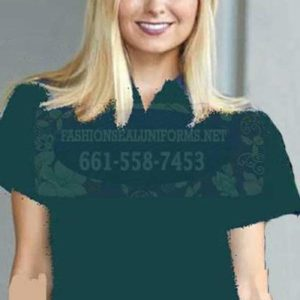 60229 Fir Green Women's Waffle Knit Polos 100% Polyester Shirt