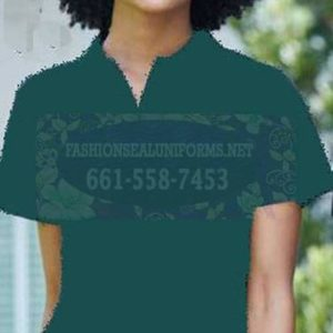 60257 Fir Green Women's Blended Pique Polos Shirt