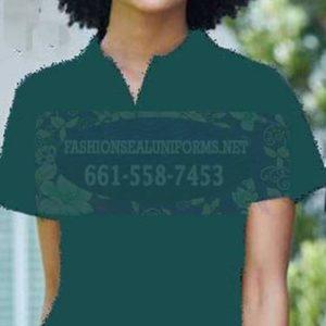 60257 Fir Green Women's Blended Pique Polos Shirt