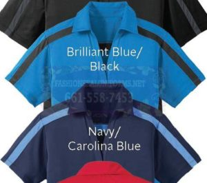 60303 60299 Navy/Carolina Blue Color Block Baby Pique Performance Polos Shirt
